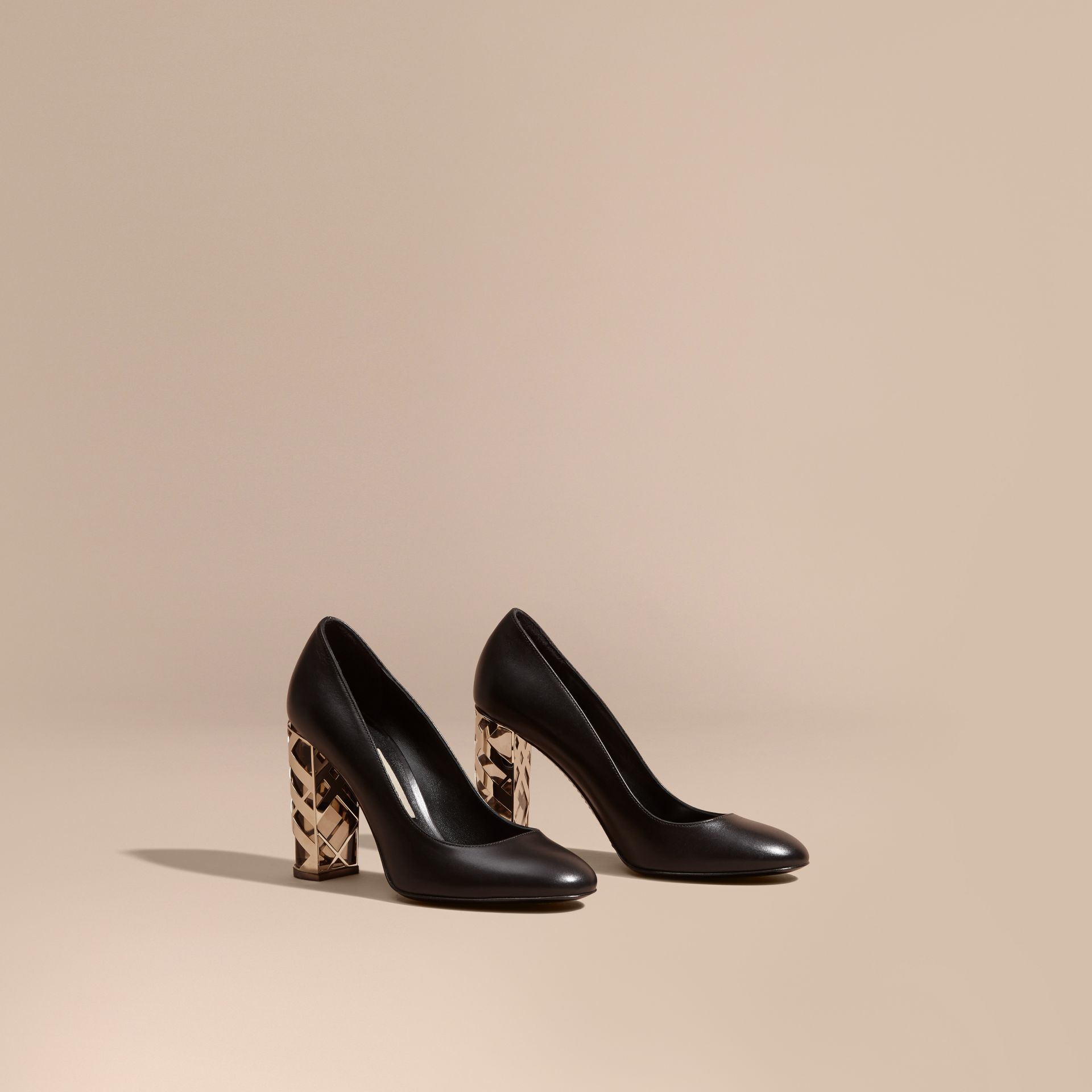 Black Check Heel Leather Pumps Black - gallery image 1