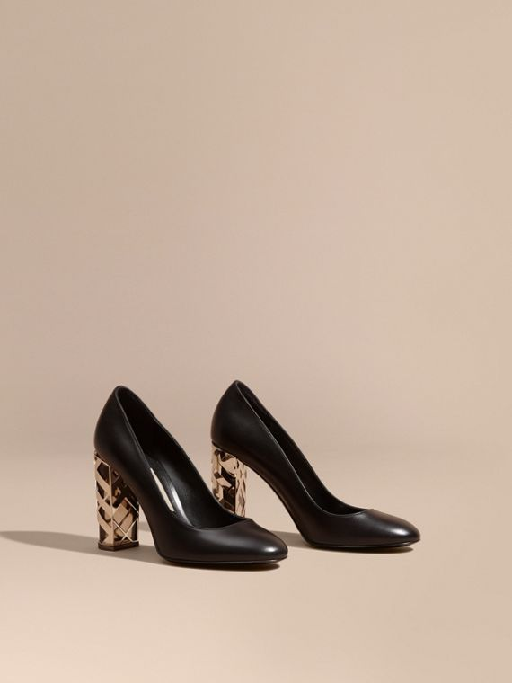 Check Heel Leather Pumps Black