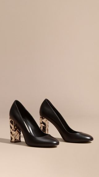 Check Heel Leather Pumps