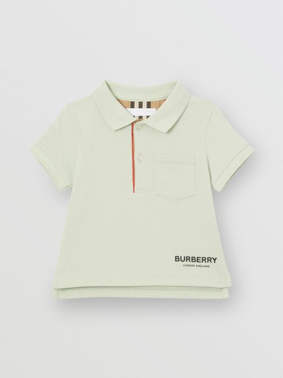 Icon Stripe Placket Cotton Piqué Polo Shirt in Pale Mint