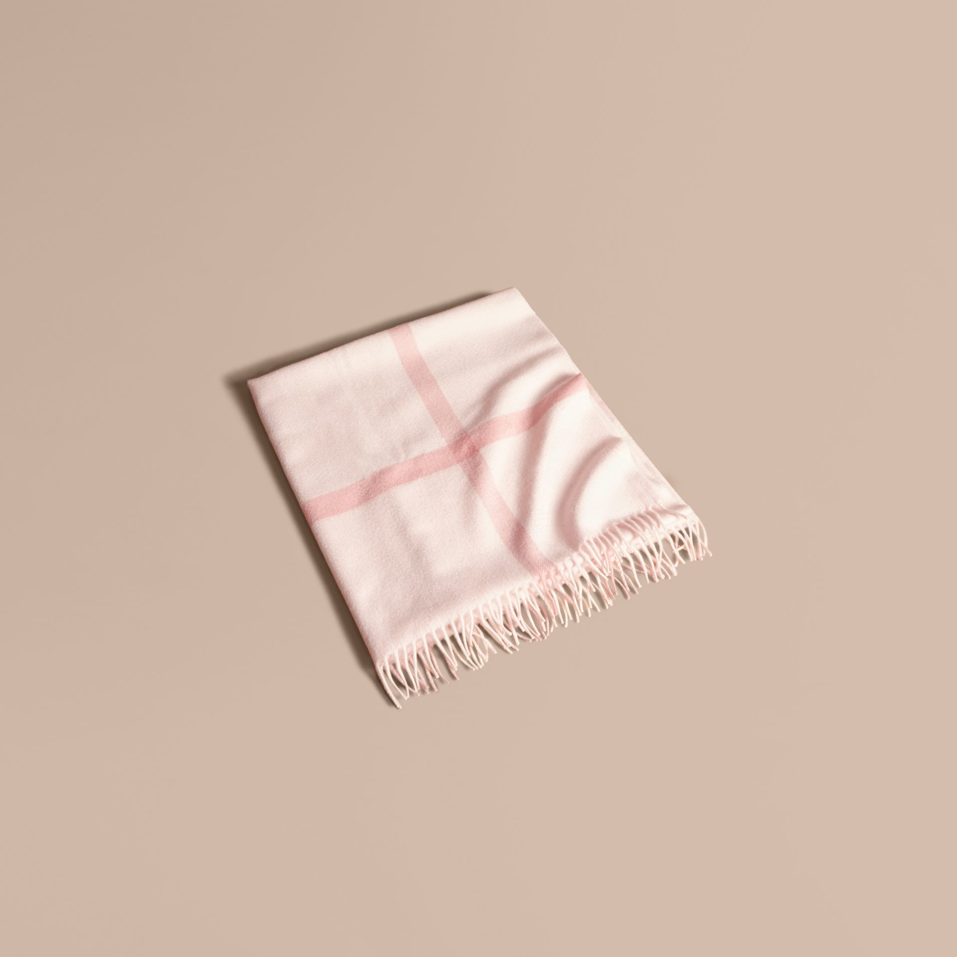 Check Cashmere Baby Blanket in Powder Pink - Children | Burberry Australia - gallery image 1