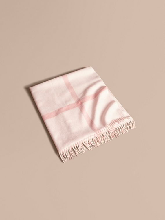 Check Cashmere Baby Blanket in Powder Pink