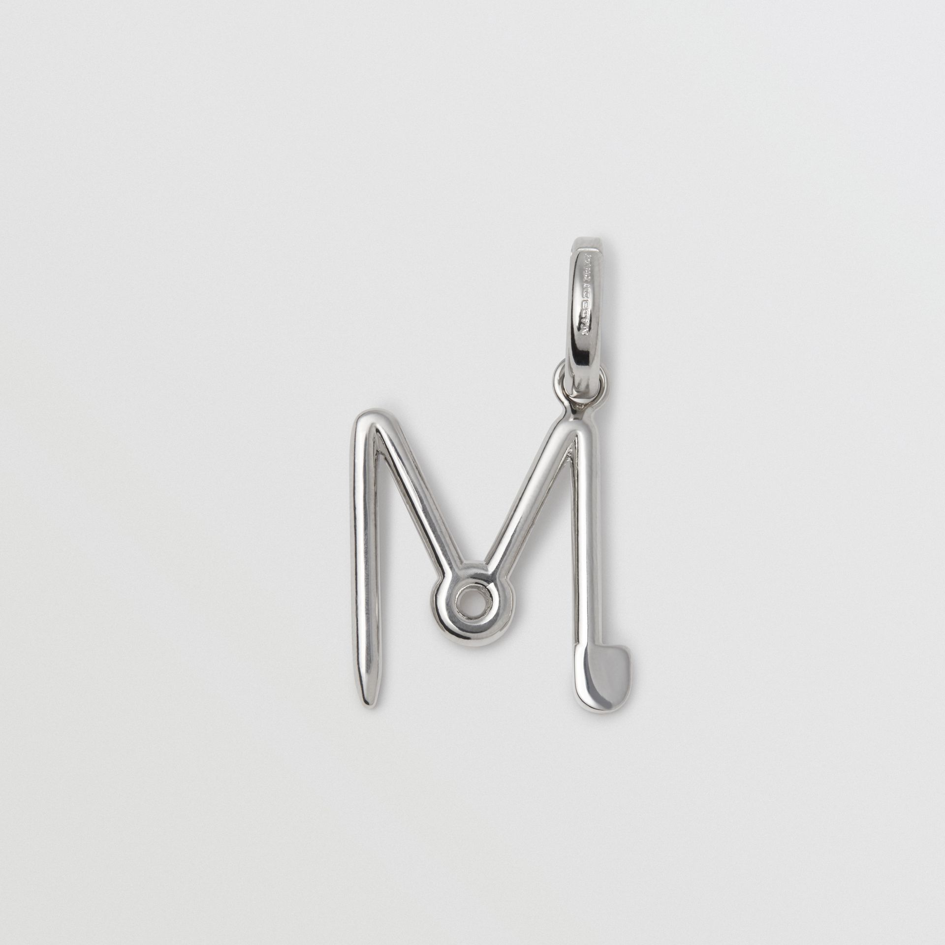 Kilt Pin 'M' Alphabet Charm in Palladio - Women | Burberry - gallery image 1