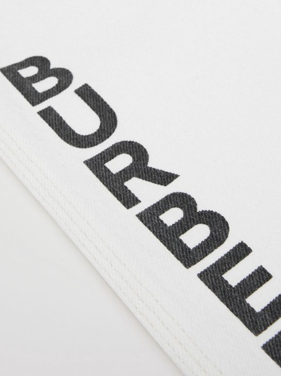 Logo Print Japanese Denim Jeans in Natural White   Burberry United Kingdom - cell image 1