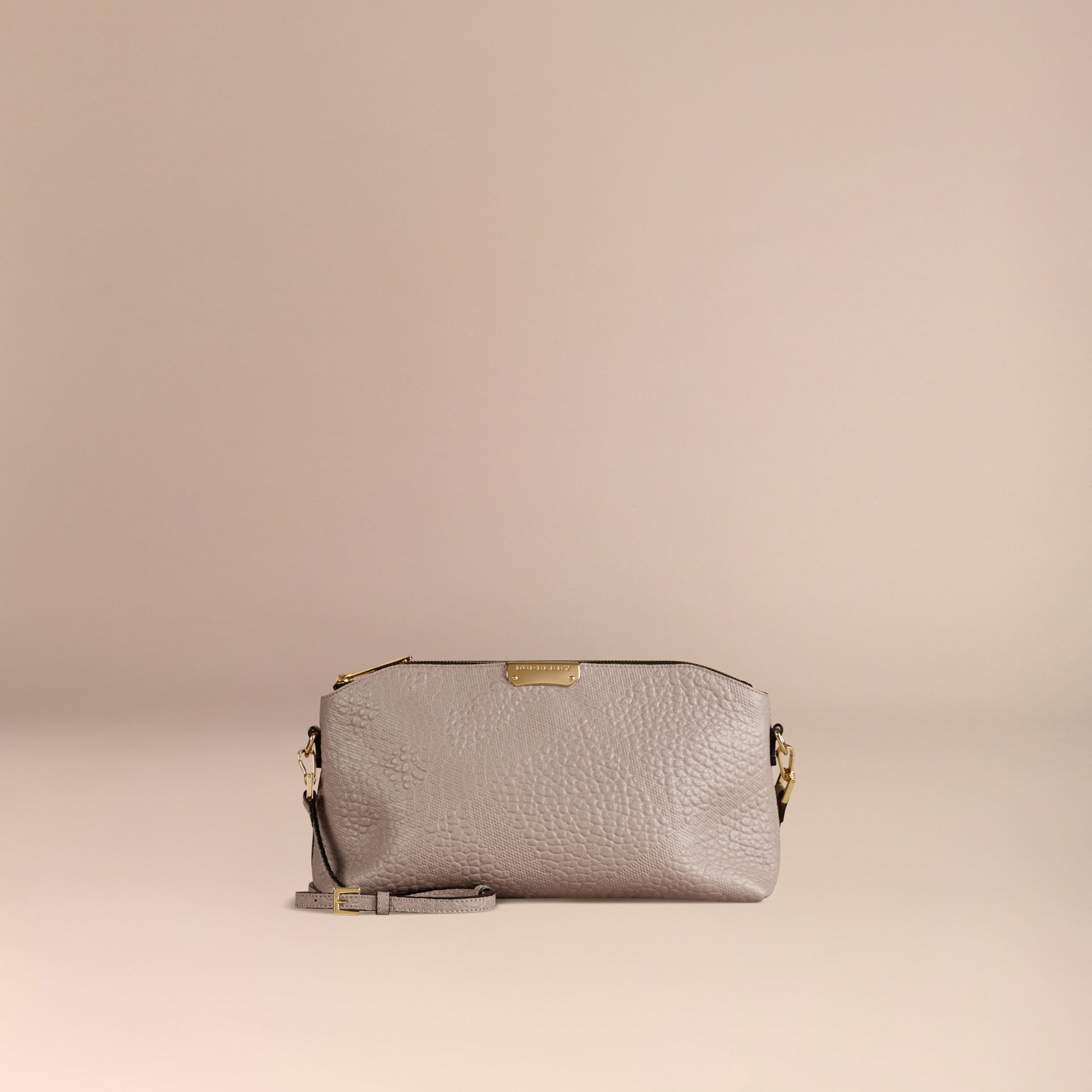 Small Embossed Check Leather Clutch Bag in Pale Grey - gallery image 7