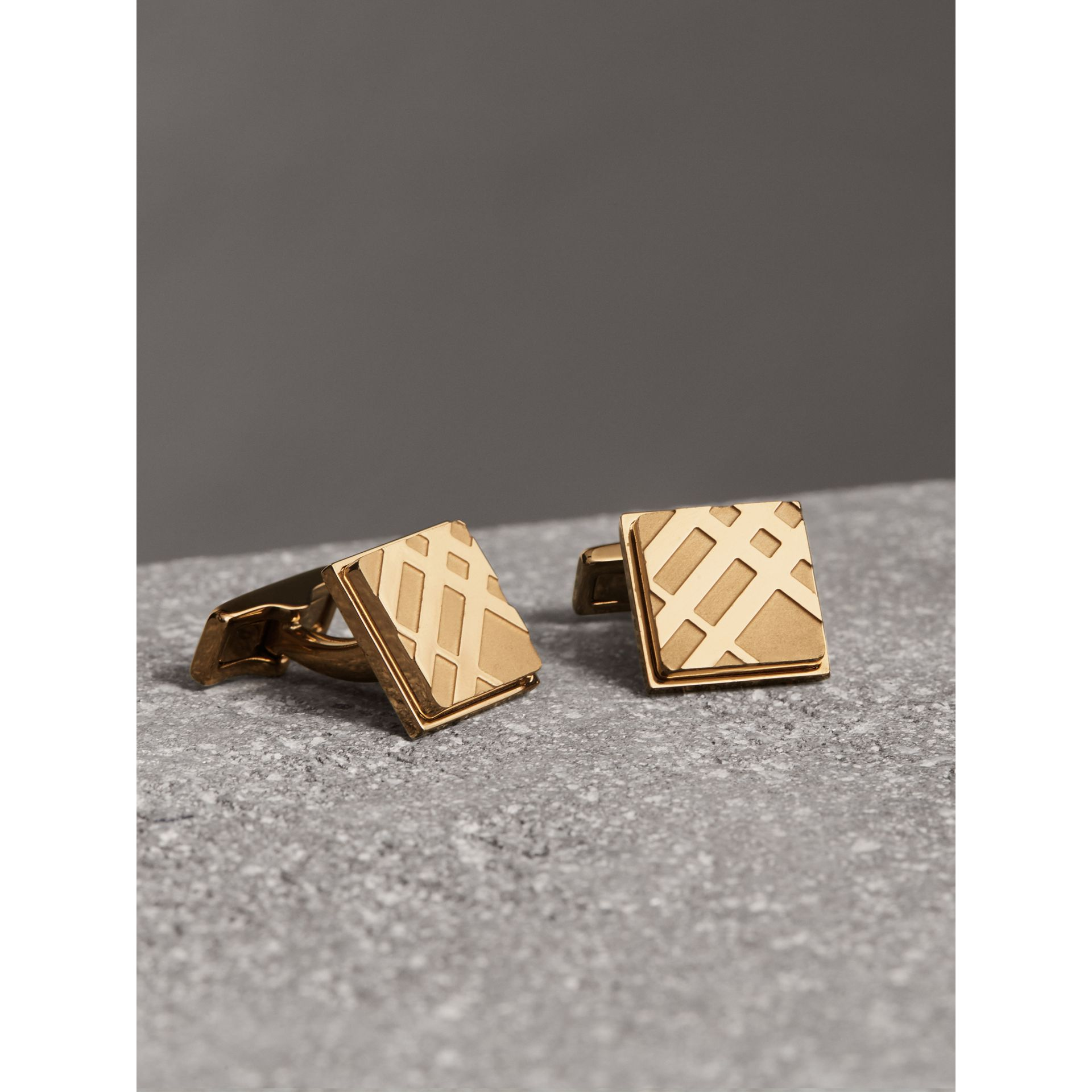 Check-engraved Square Cufflinks in Pale Gold - Men | Burberry Singapore - gallery image 0