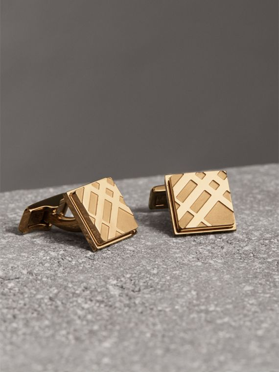 Check-engraved Square Cufflinks in Pale Gold