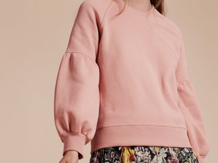 Sweat-shirt en jersey avec manches bouffantes (Rose Platiné) - Femme | Burberry - cell image 4