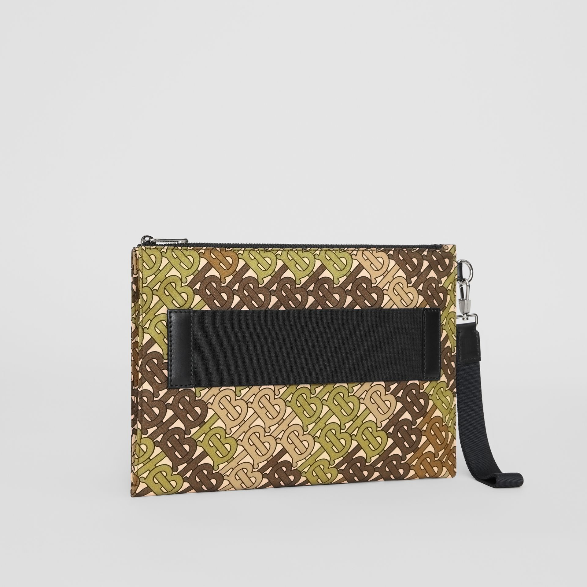 Monogram Print Zip Pouch in Khaki Green - Men | Burberry United Kingdom - gallery image 4