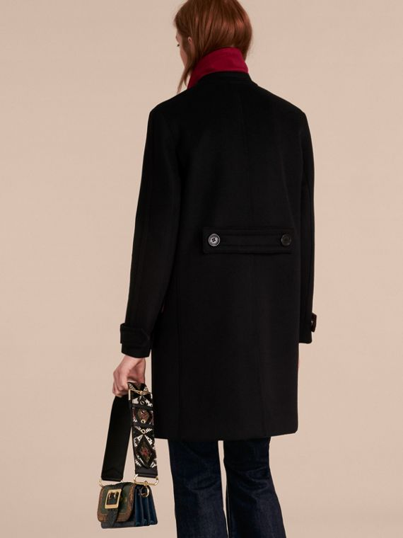 Black Single-breasted Wool Cashmere Military Coat - cell image 2
