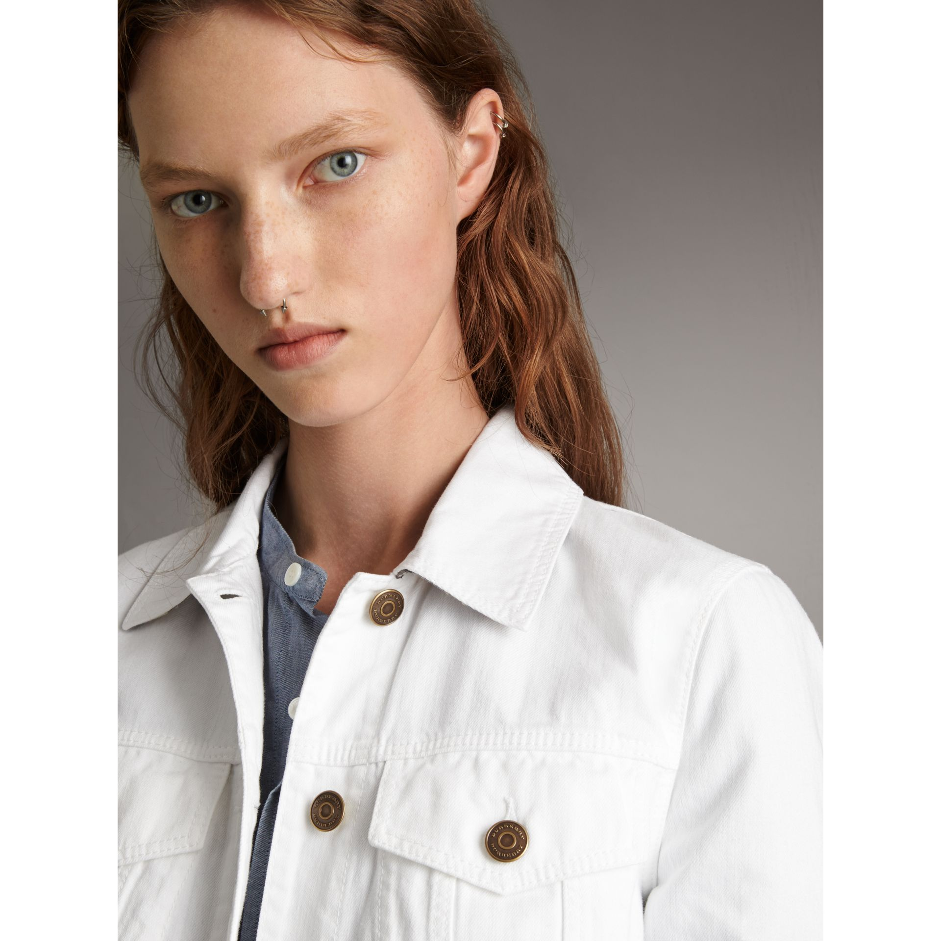 Check Detail Denim Jacket in White - Women | Burberry - gallery image 6