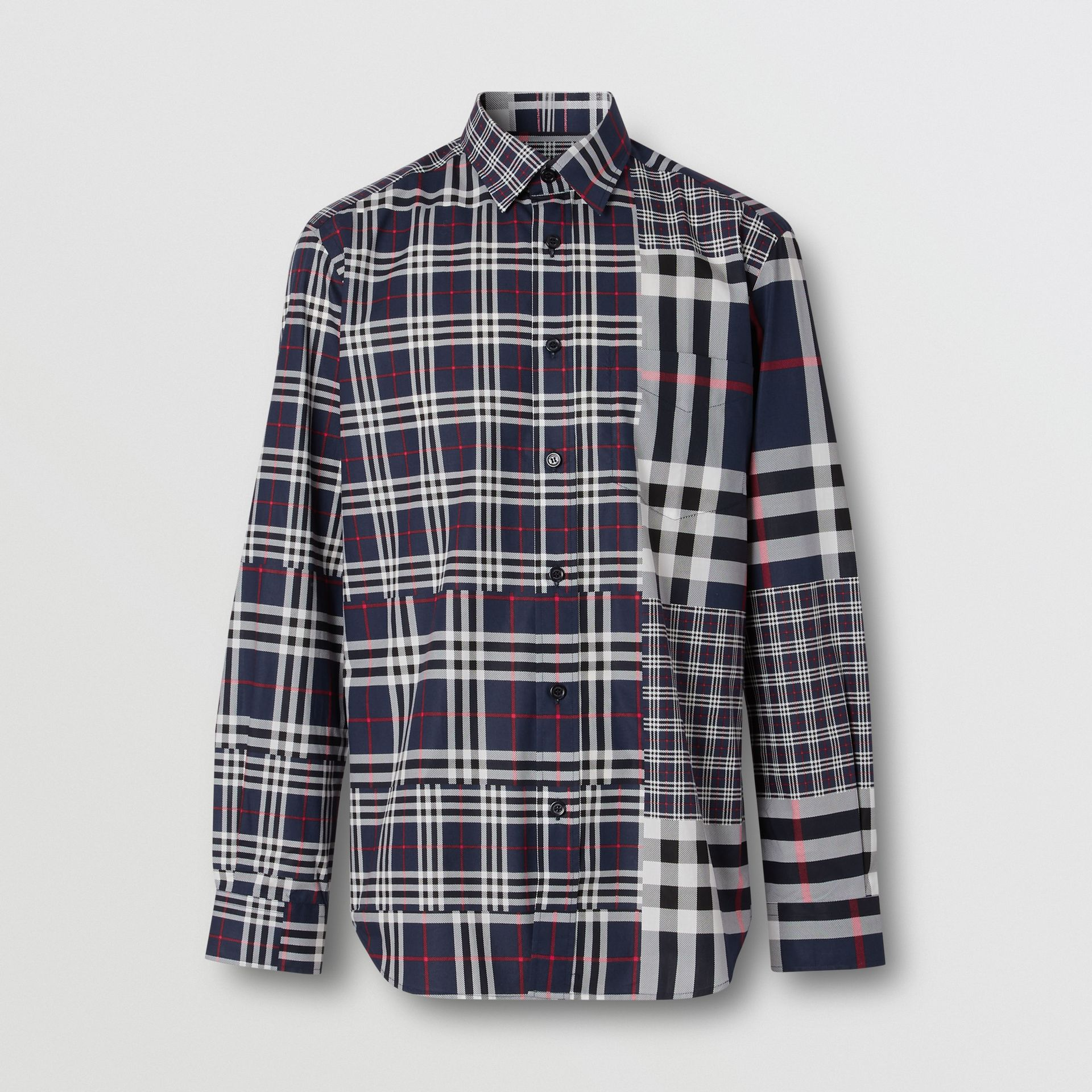 Classic Fit Patchwork Check Cotton Shirt in Navy - Men | Burberry - gallery image 3