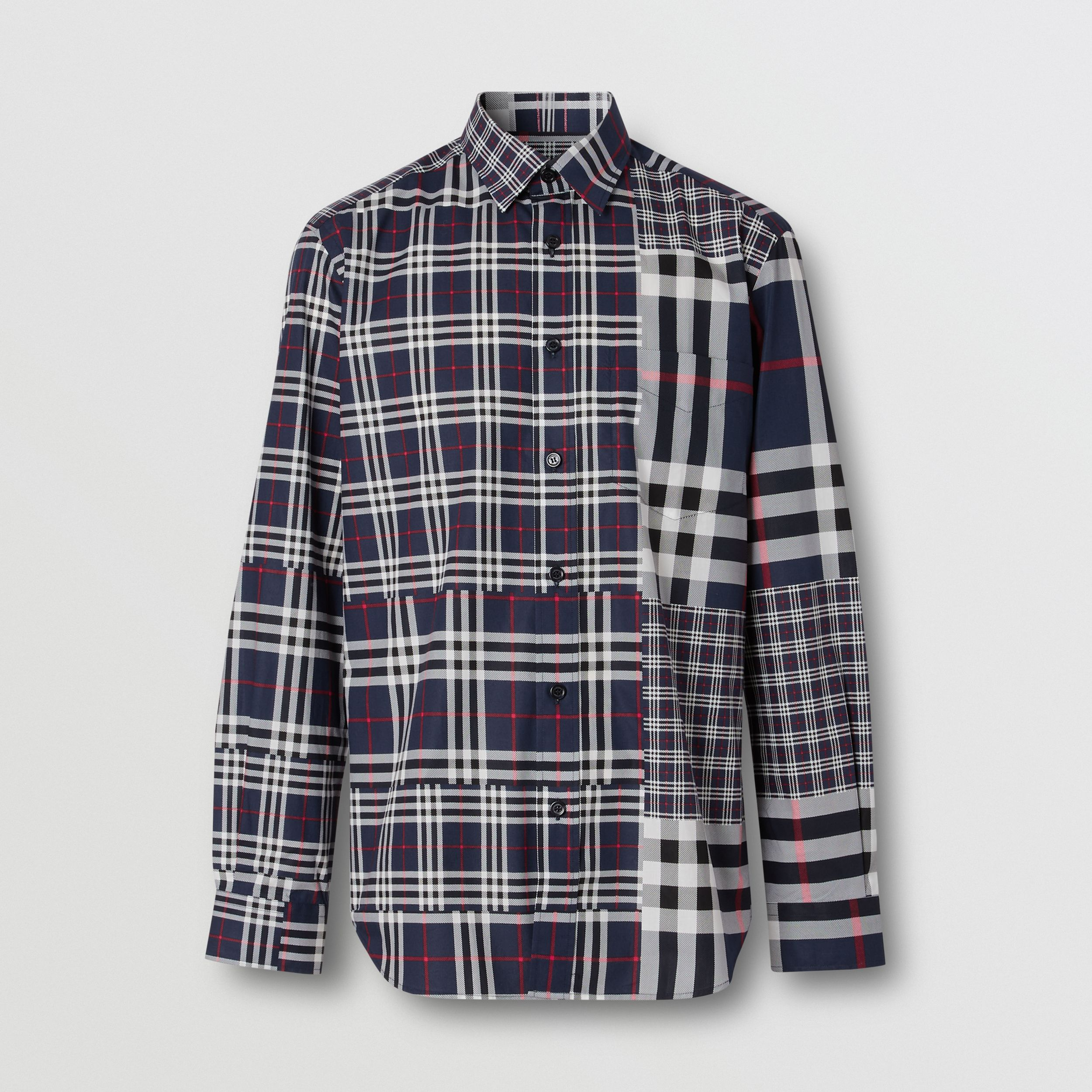 Classic Fit Patchwork Check Cotton Shirt in Navy - Men | Burberry - 4