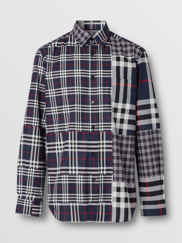 Classic Fit Patchwork Check Cotton Shirt in Navy - Men | Burberry - cell image 3