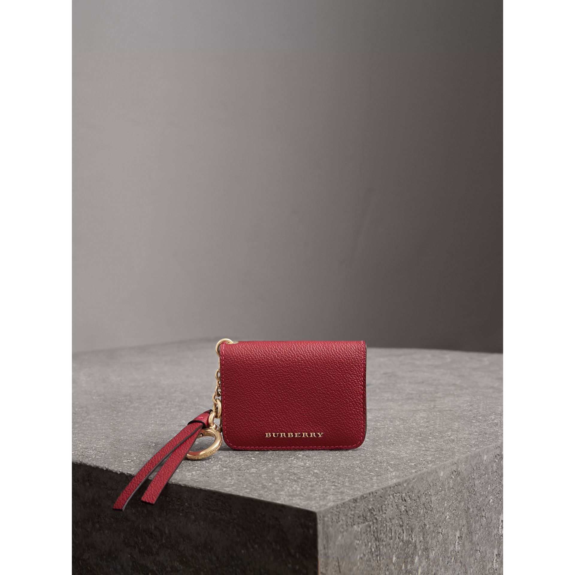 Leather and Haymarket Check ID Card Case Charm in Parade Red/multicolour - Women | Burberry - gallery image 4