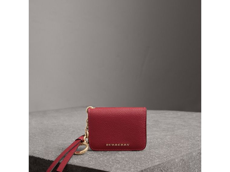 Leather and Haymarket Check ID Card Case Charm in Parade Red/multicolour - Women | Burberry - cell image 4