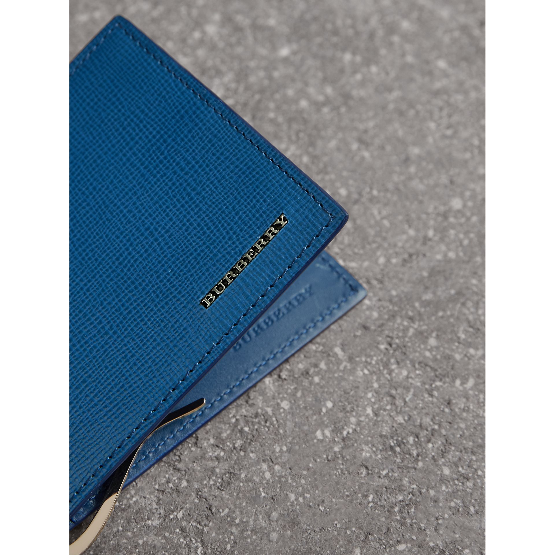 London Leather Money Clip Card Wallet in Deep Blue | Burberry United States - gallery image 1