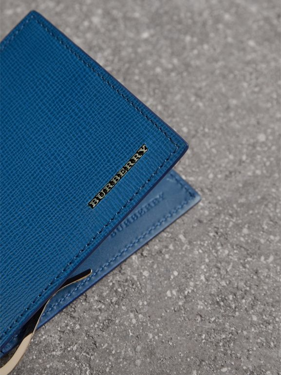 London Leather Money Clip Card Wallet in Deep Blue | Burberry - cell image 1