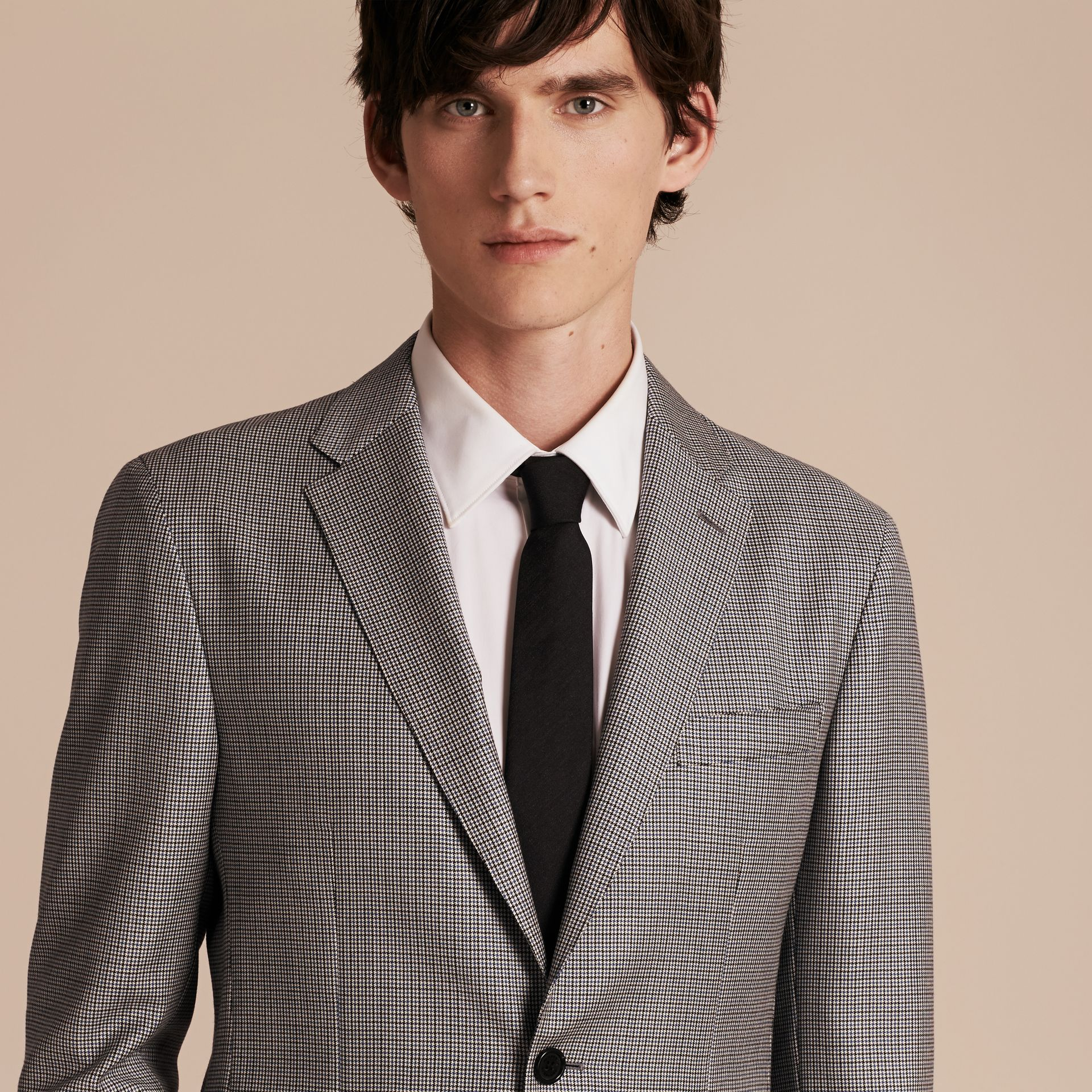 Slim Fit Houndstooth Wool Tailored Jacket - Men | Burberry - gallery image 6