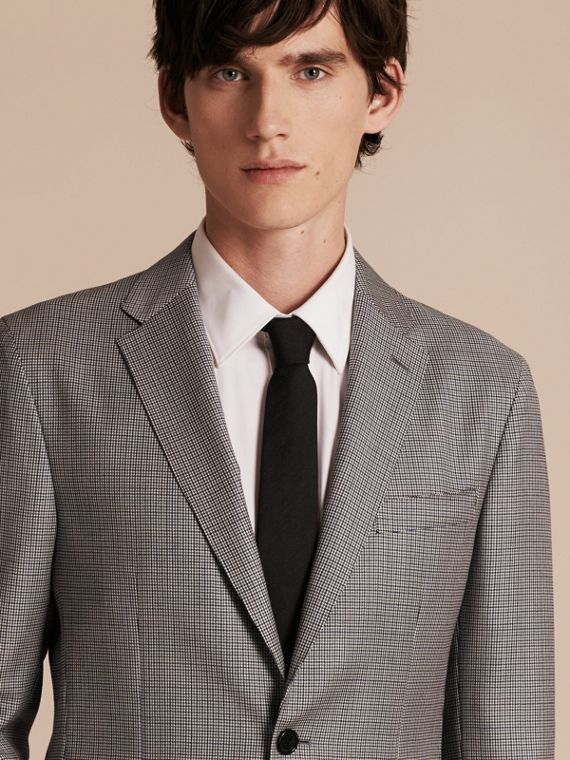 Slim Fit Houndstooth Wool Tailored Jacket