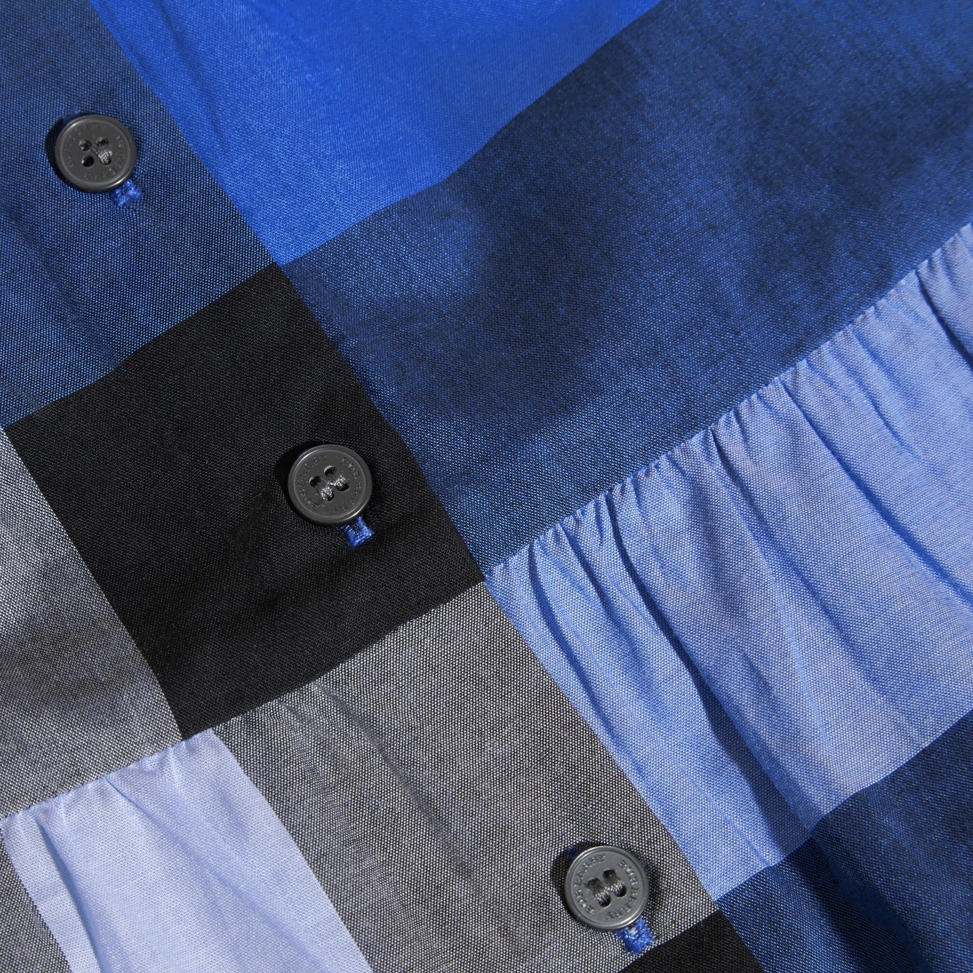 Blu ortensia intenso Blusa in cotone con maniche a sbuffo e motivo check Ortensia Intenso - immagine della galleria 2