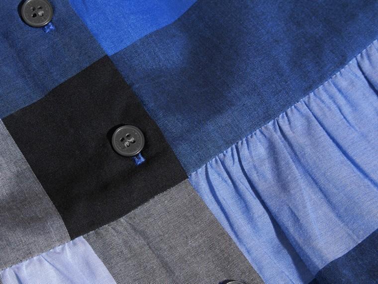 Blu ortensia intenso Blusa in cotone con maniche a sbuffo e motivo check Ortensia Intenso - cell image 1