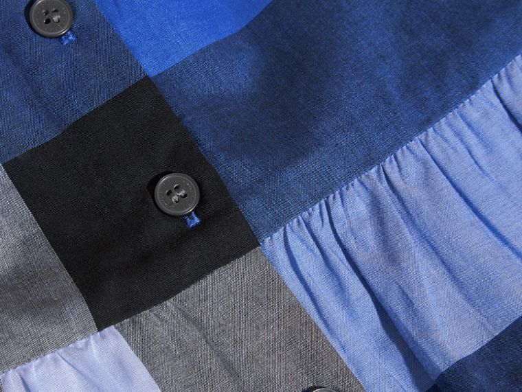 Bright hydrangea blue Puff Sleeve Check Cotton Blouse Bright Hydrangea Blue - cell image 1