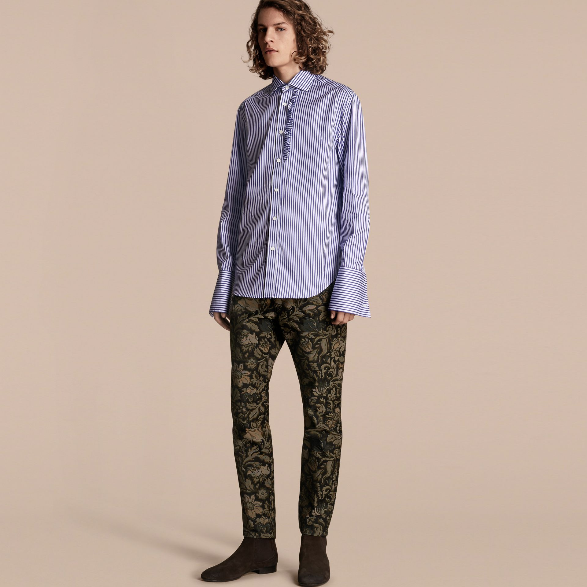 Sage Slim Fit Floral Jacquard Jeans Sage - gallery image 7