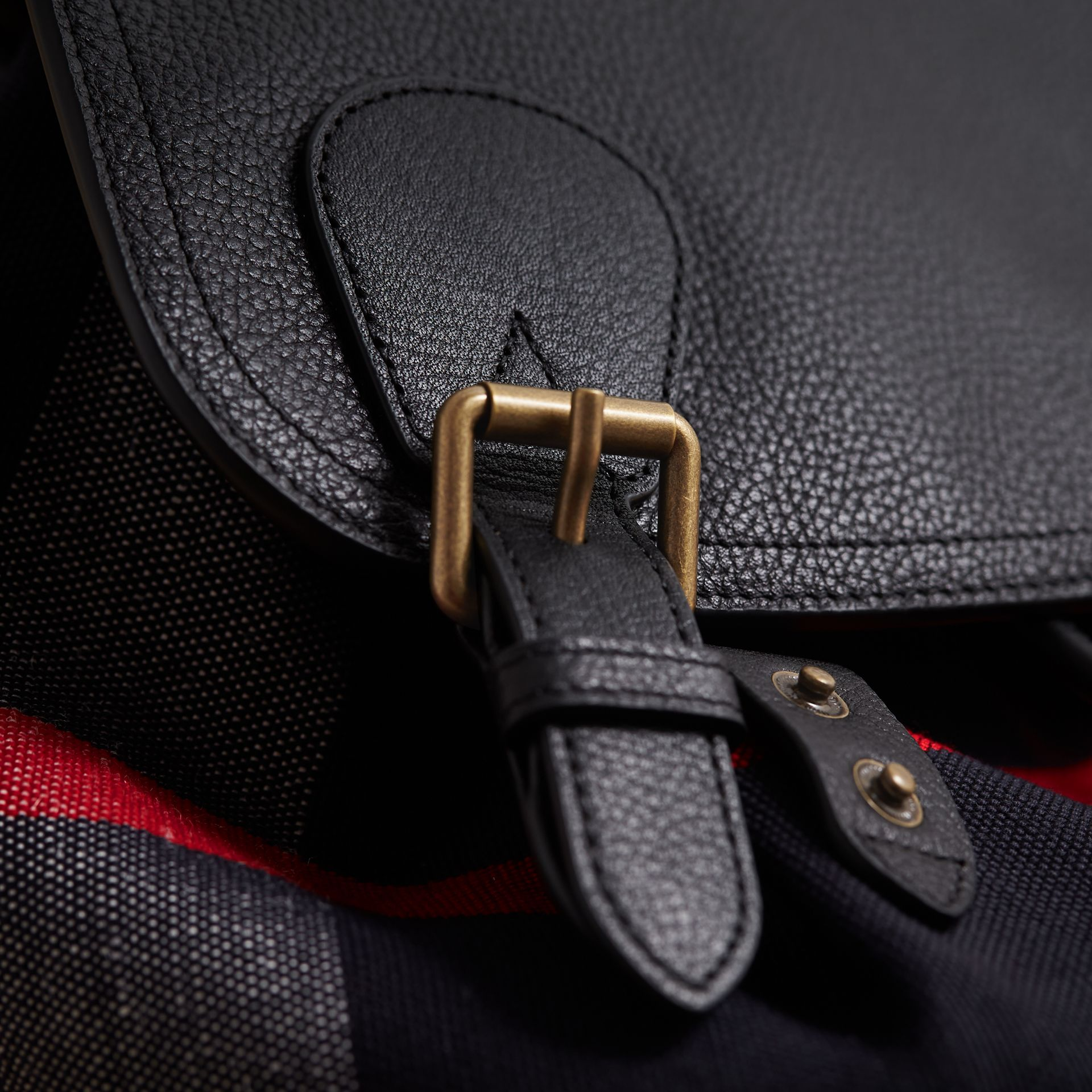 The Large Rucksack in Canvas Check and Leather in Black - Men | Burberry Singapore - gallery image 2