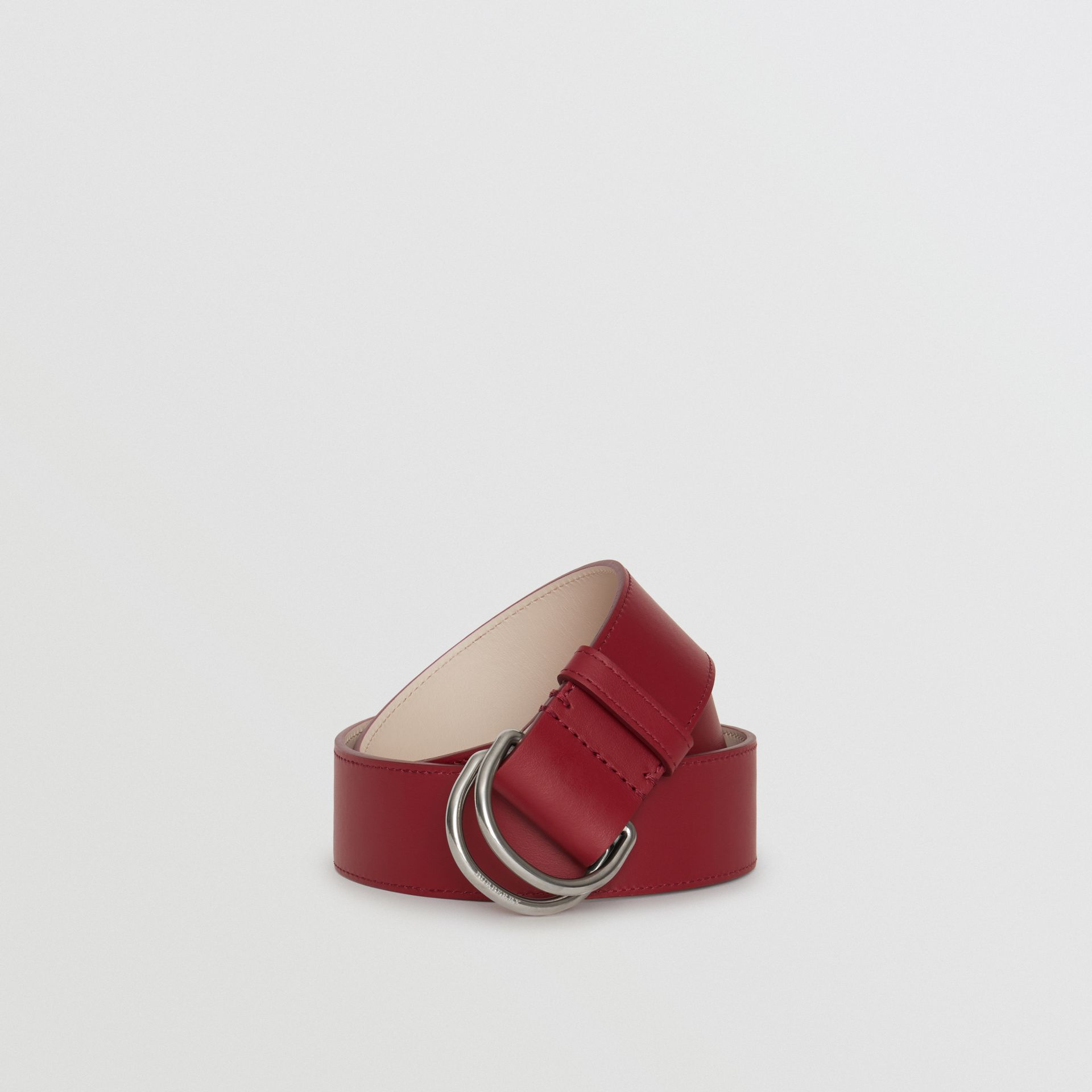 Leather Double D-ring Belt in Crimson/limestone - Women | Burberry United Kingdom - gallery image 0