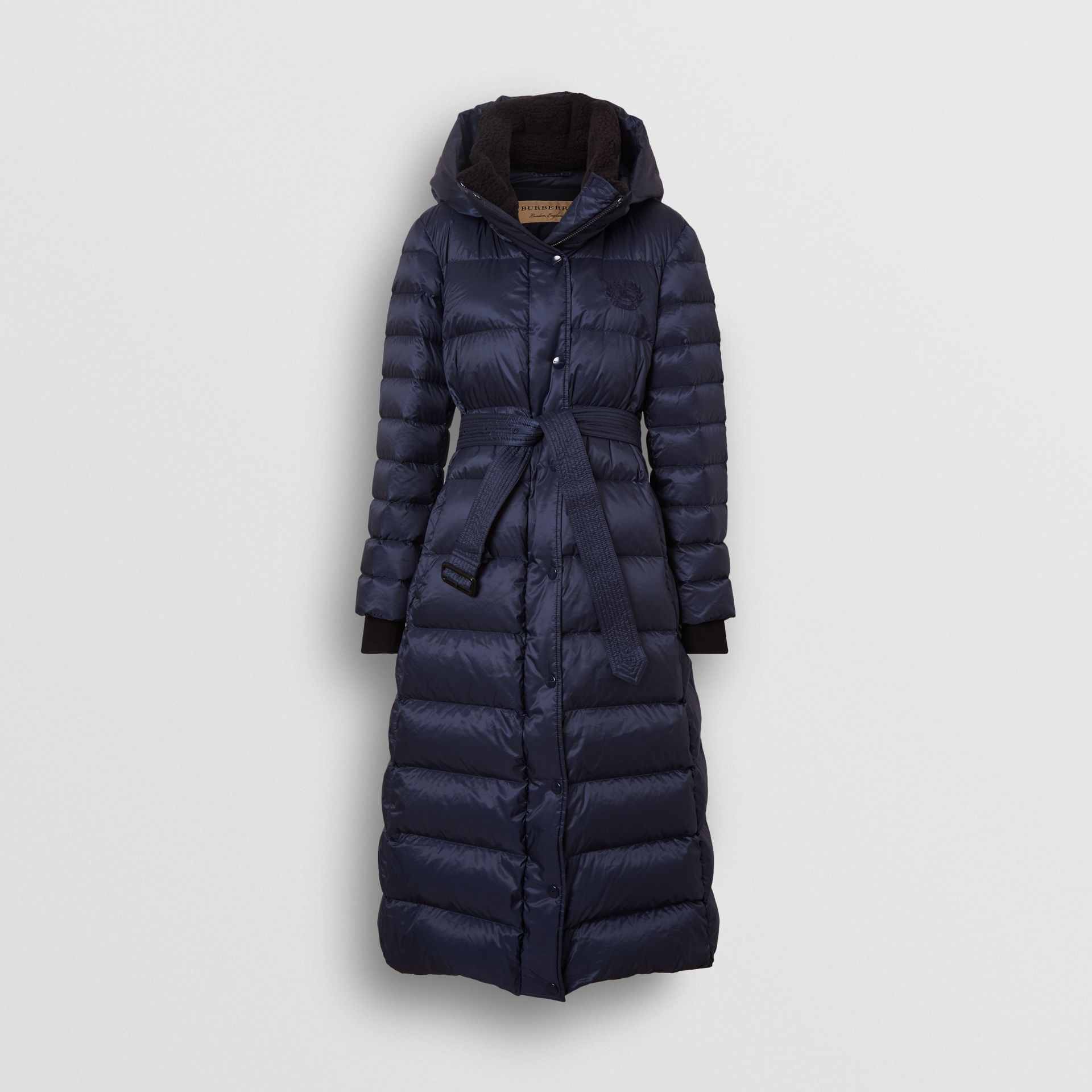 Down-filled Hooded Puffer Coat in Navy - Women | Burberry United States - gallery image 3