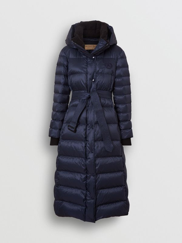Down-filled Hooded Puffer Coat in Navy - Women | Burberry United States - cell image 3