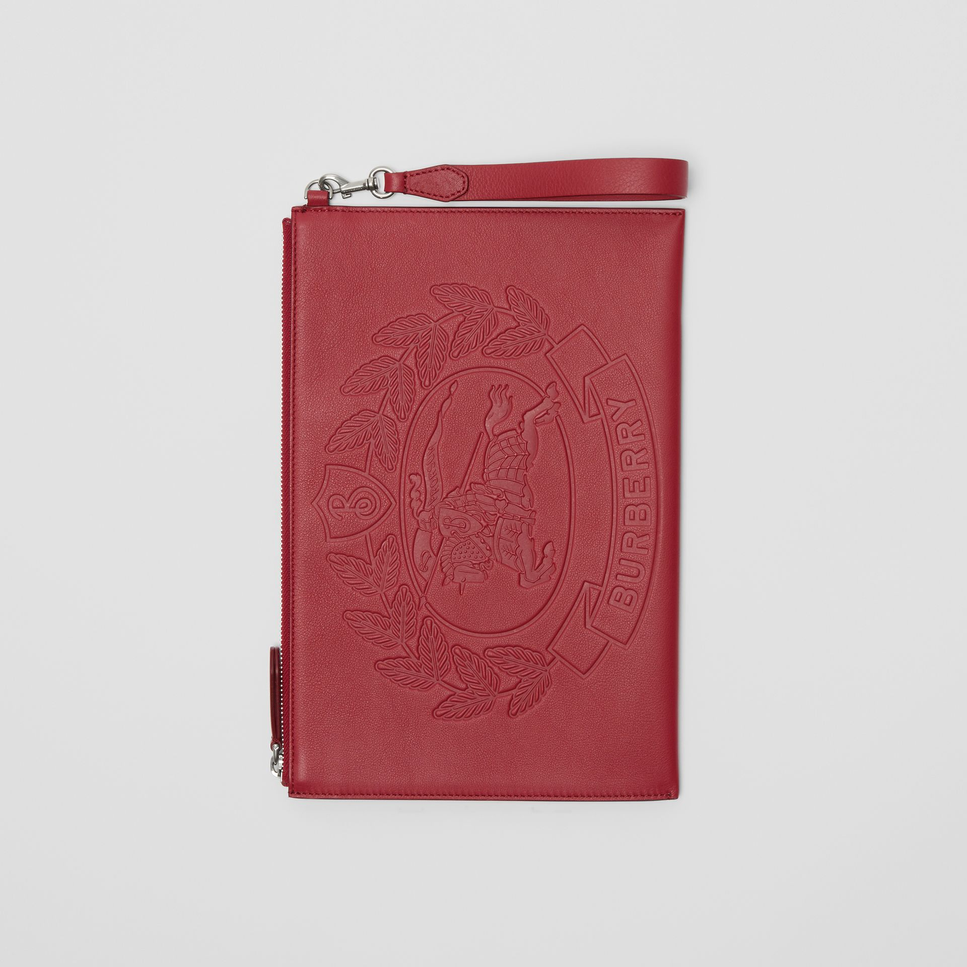 Embossed Crest Leather Zip Pouch in Crimson - Men | Burberry - gallery image 0