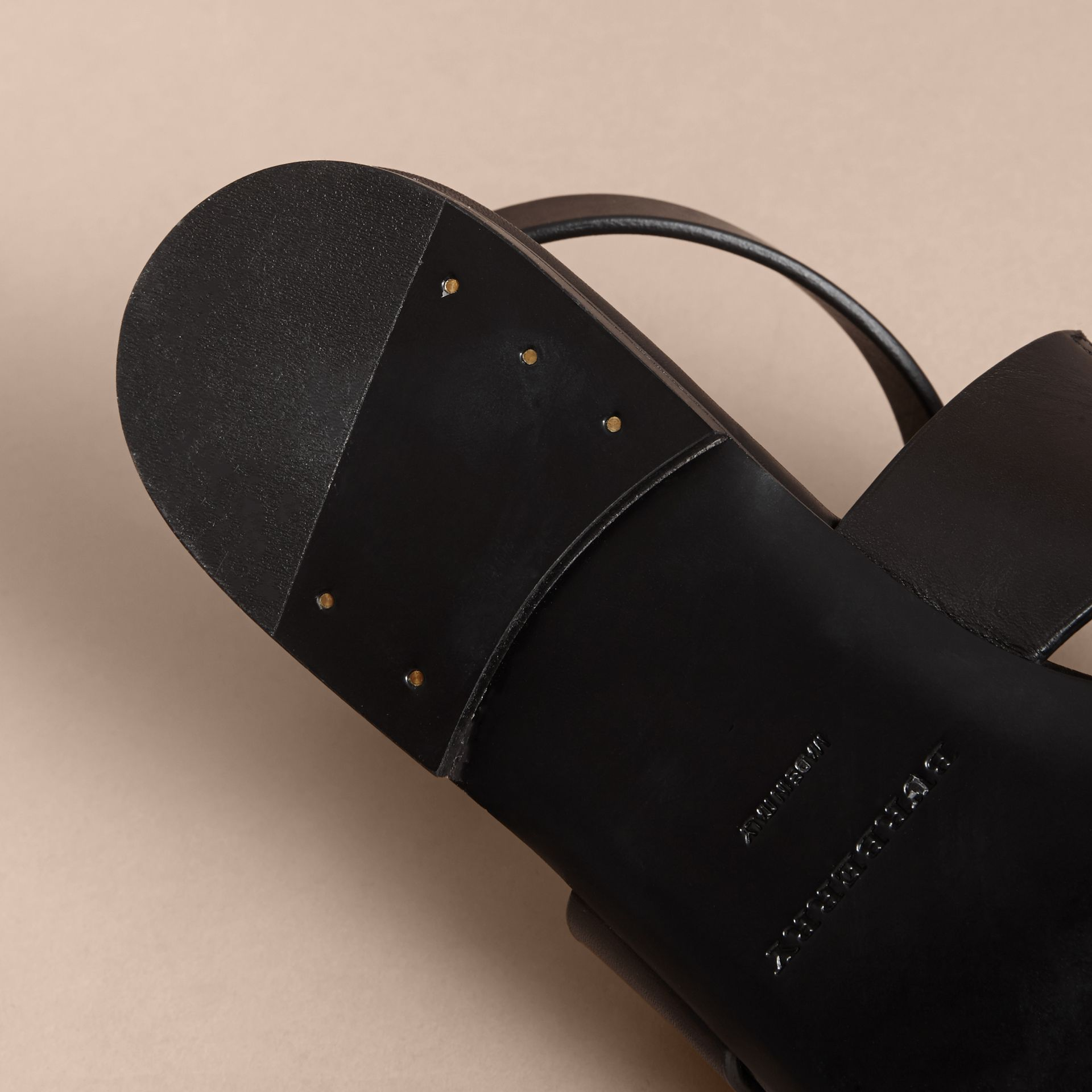 Equestrian Detail Leather Sandals - Women | Burberry - gallery image 5