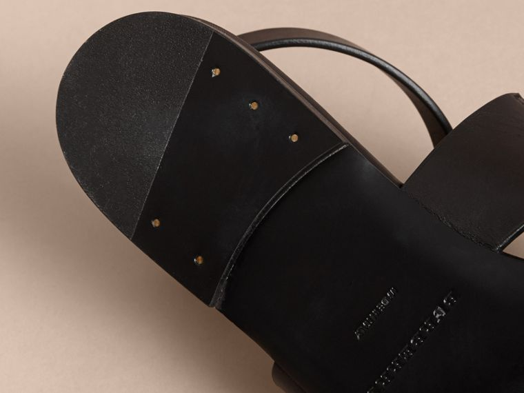 Equestrian Detail Leather Sandals - Women | Burberry - cell image 4