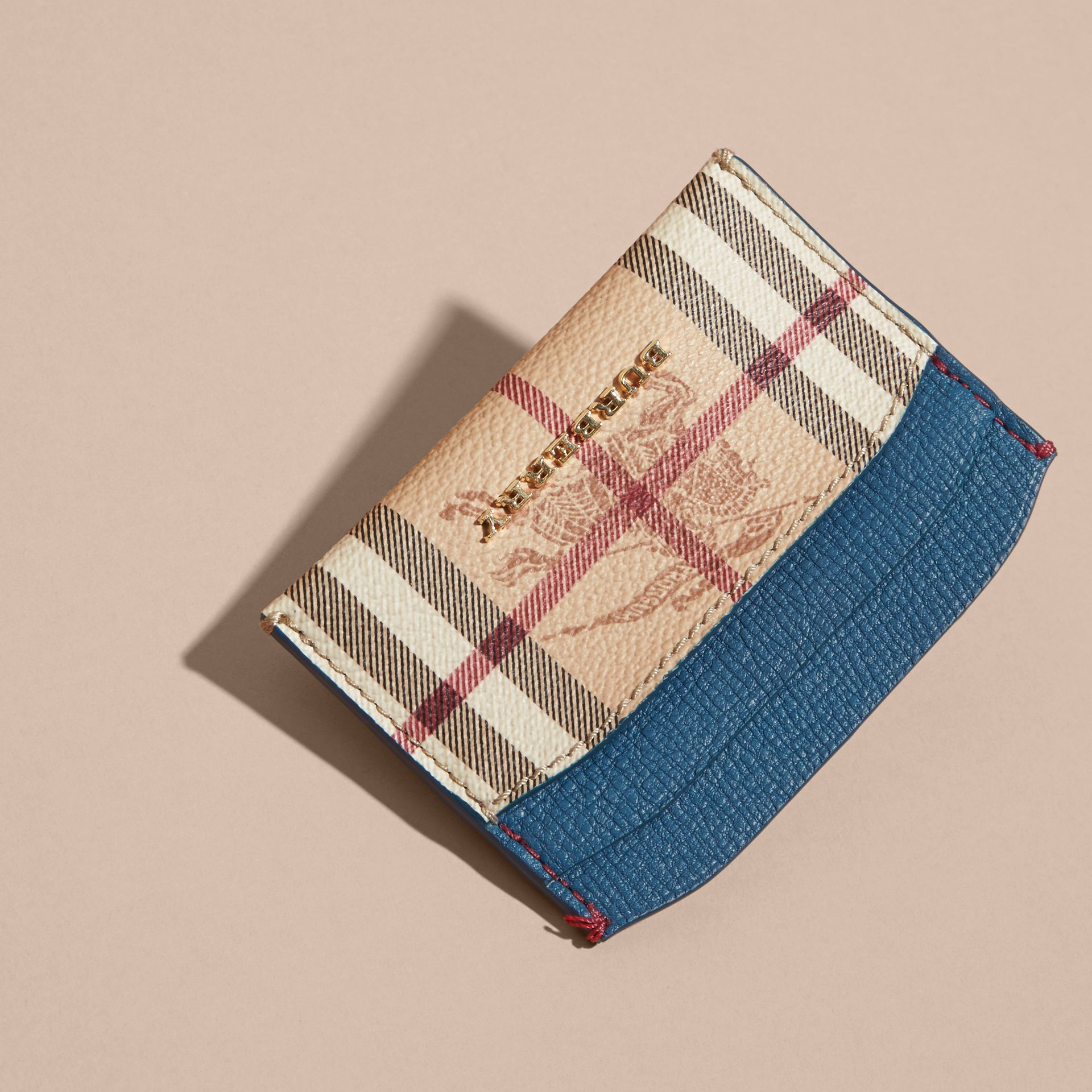 Haymarket Check and Leather Card Case Mineral Blue - gallery image 3