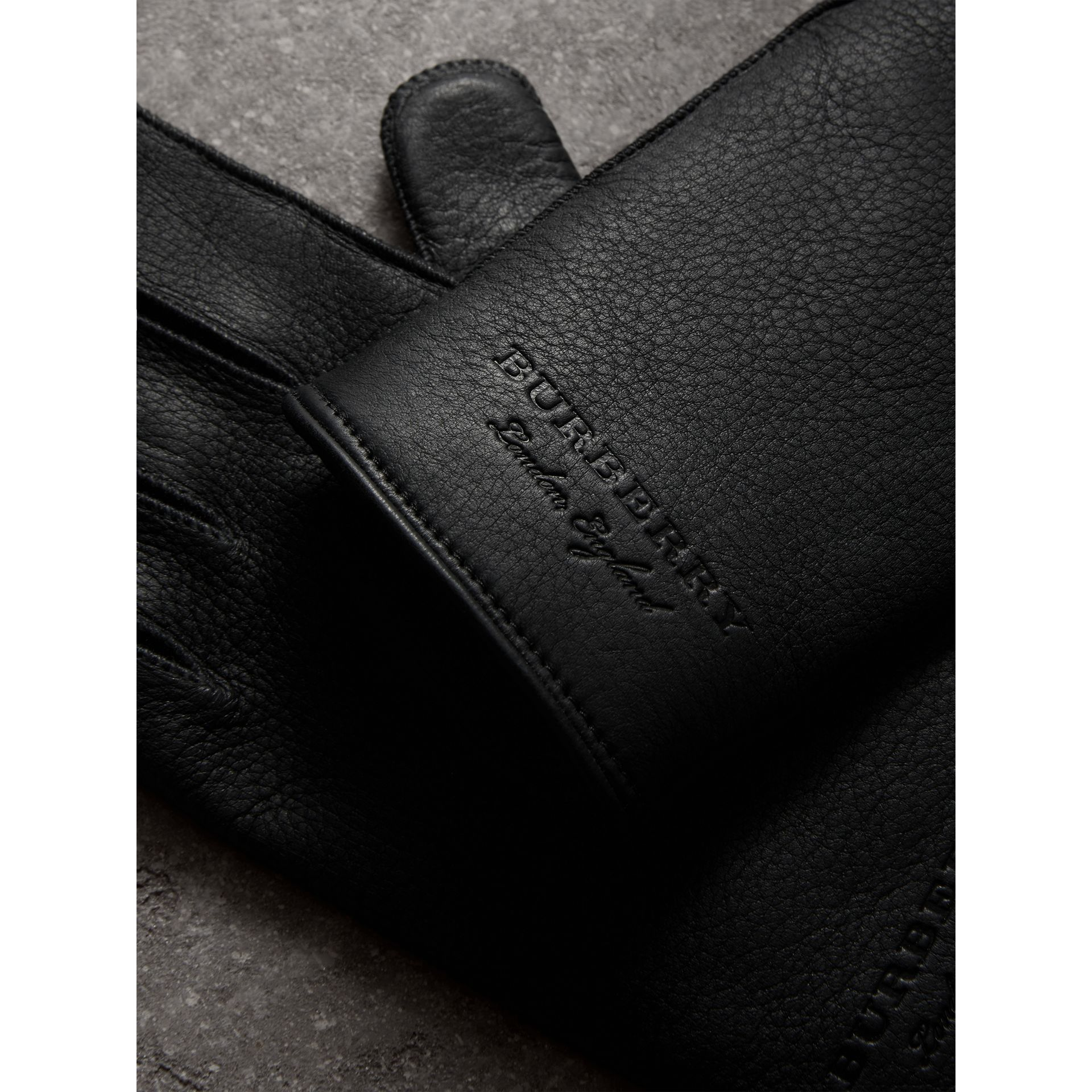 Deerskin Gloves in Black | Burberry United Kingdom - gallery image 1