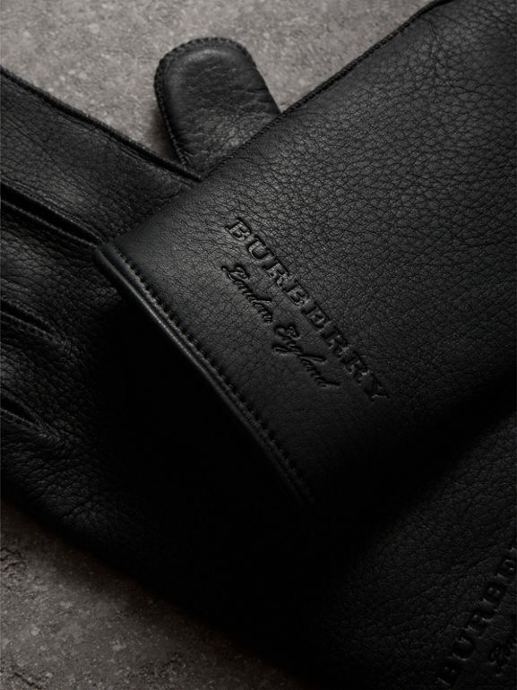 Deerskin Gloves in Black | Burberry United States - cell image 1