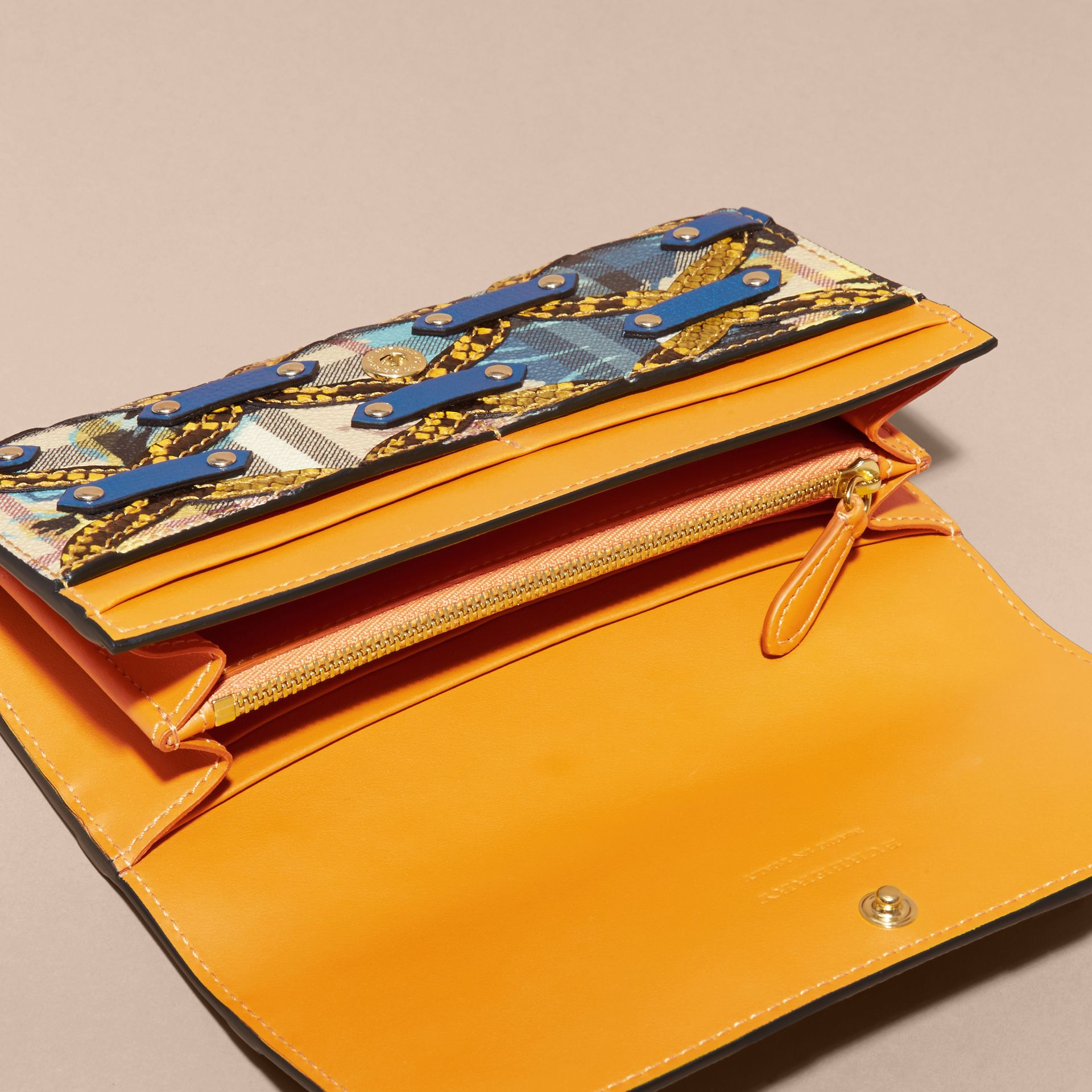 Snakeskin Appliqué Peony Rose Print Haymarket Check Continental Wallet in Mineral Blue - gallery image 5