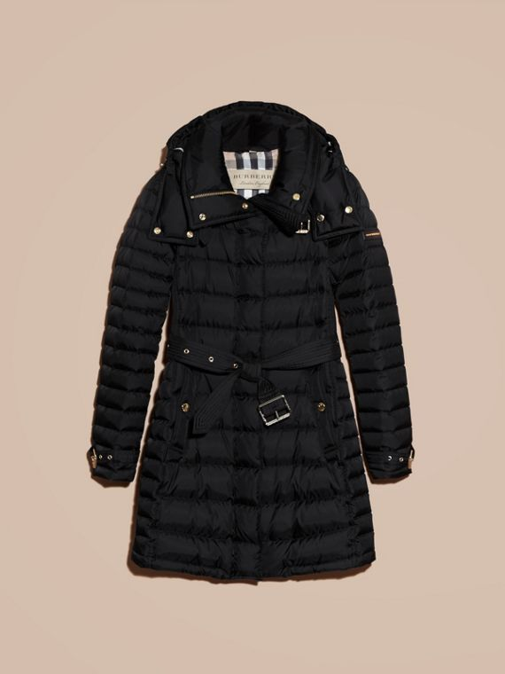 Down-filled Puffer Jacket with Packaway Hood in Black - Women | Burberry - cell image 3