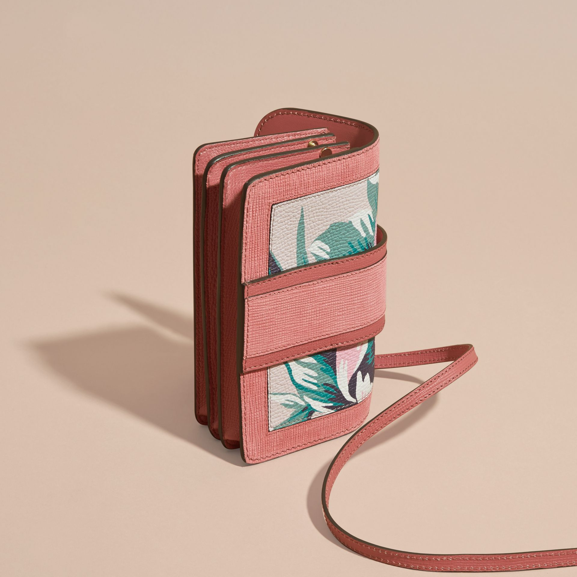 Copper pink /emerald The Small Buckle Bag in Peony Rose Print Leather Copper Pink /emerald - gallery image 5