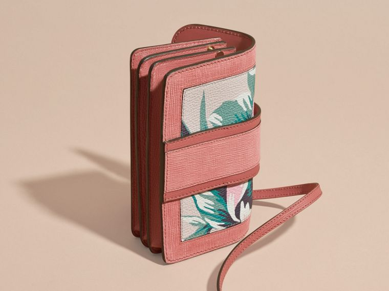 The Small Buckle Bag in Peony Rose Print Leather in Copper Pink /emerald - cell image 4