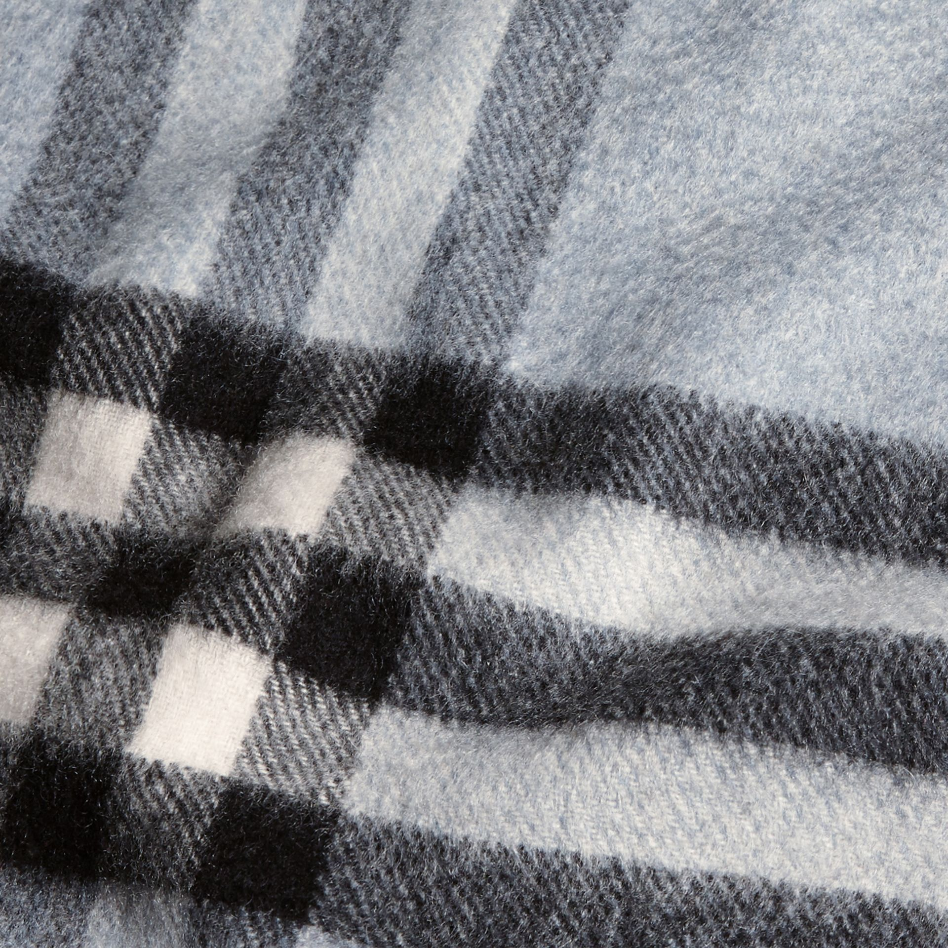 The Classic Cashmere Scarf in Check Dusty Blue - gallery image 5