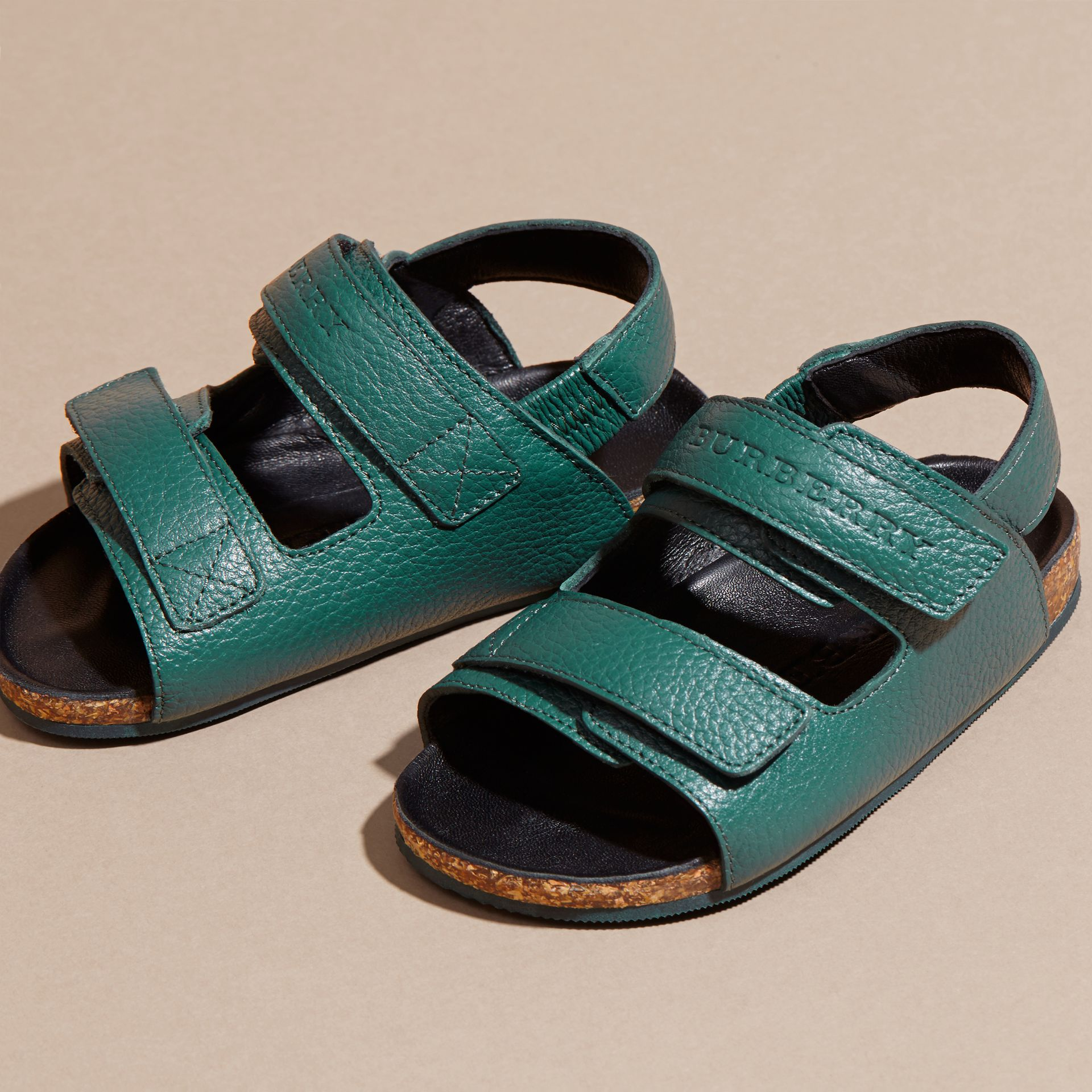 Deep viridian green Leather Sandals - gallery image 2