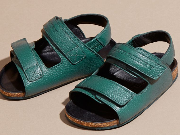 Deep viridian green Leather Sandals - cell image 1