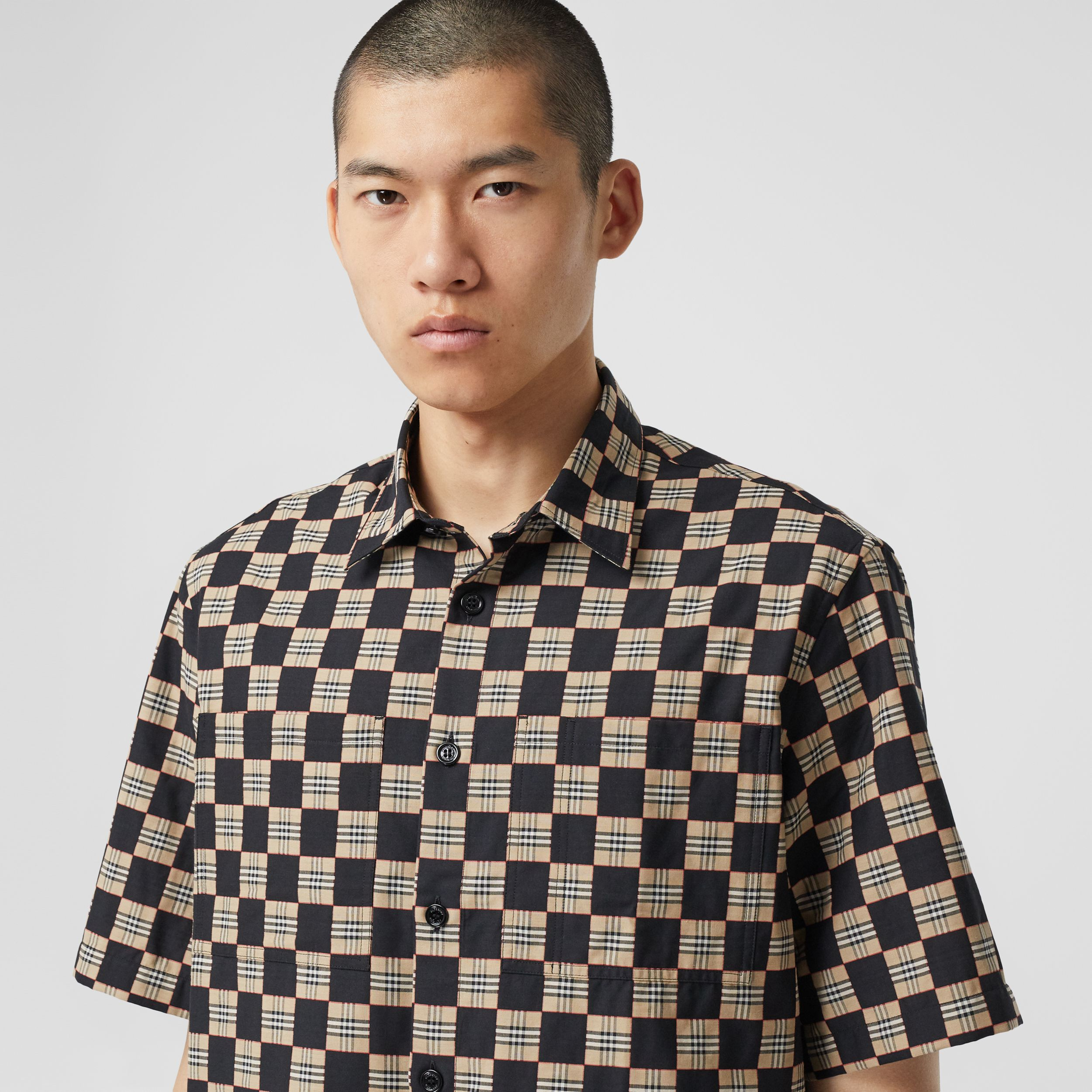 Short-sleeve Chequer Print Cotton Shirt - Men | Burberry - 2