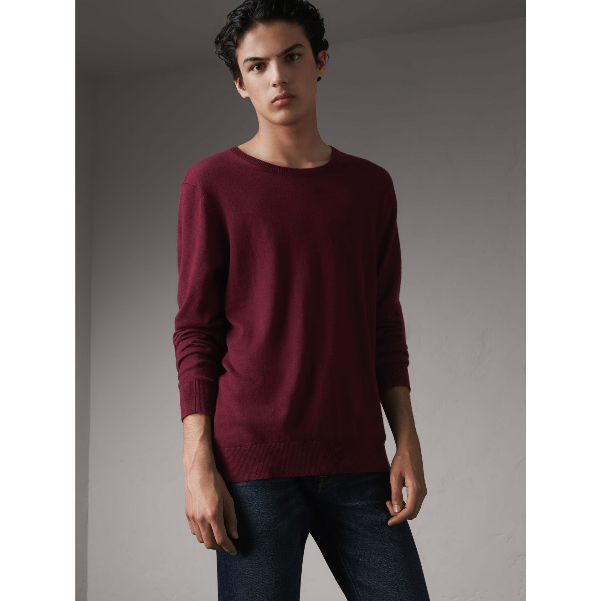 Check Trim Cashmere Cotton Sweater in Claret - Men | Burberry - gallery image 1