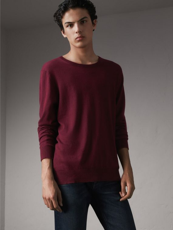 Check Trim Cashmere Cotton Sweater in Claret - Men | Burberry