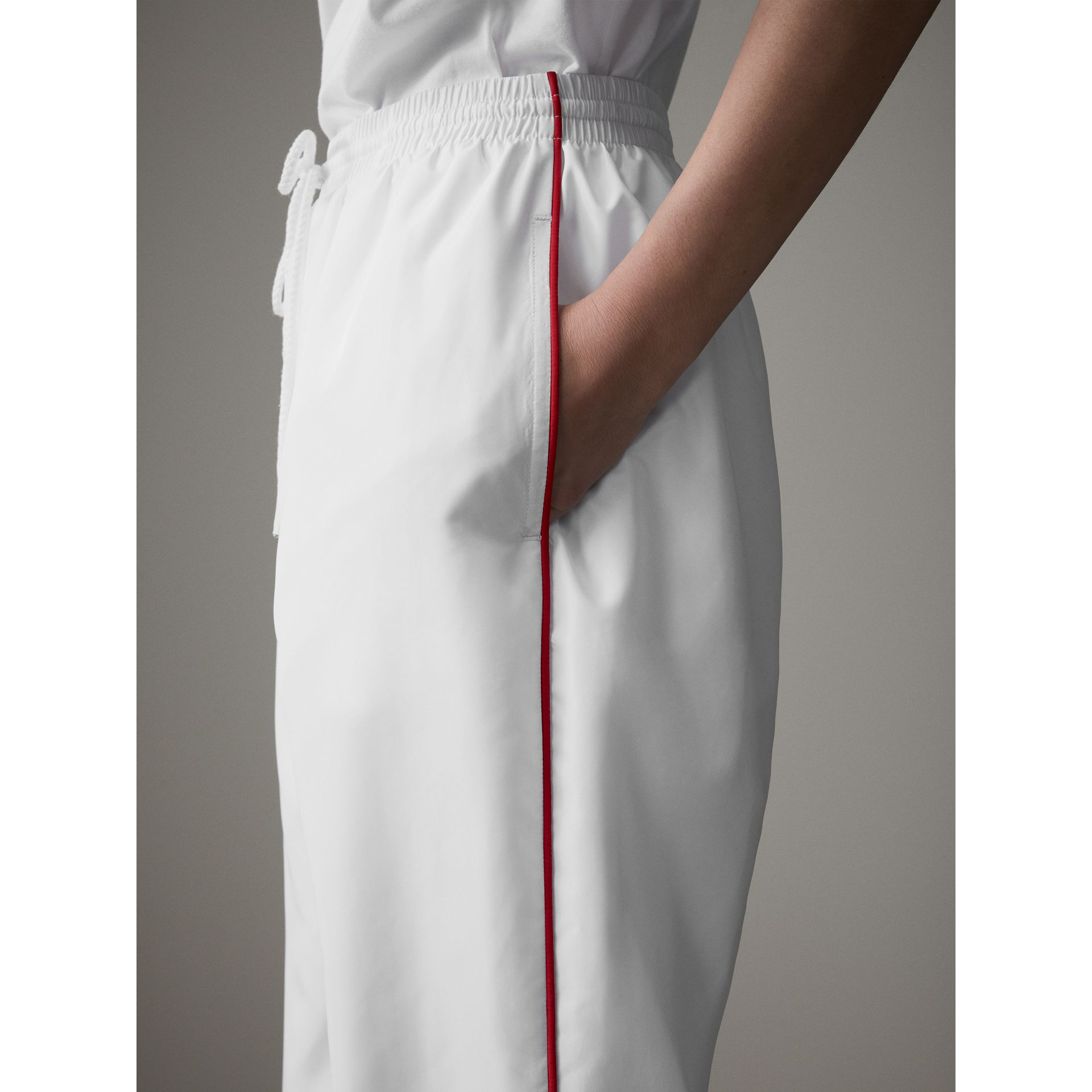 Contrast Piping Poplin Track Pants in White - Women | Burberry - gallery image 5