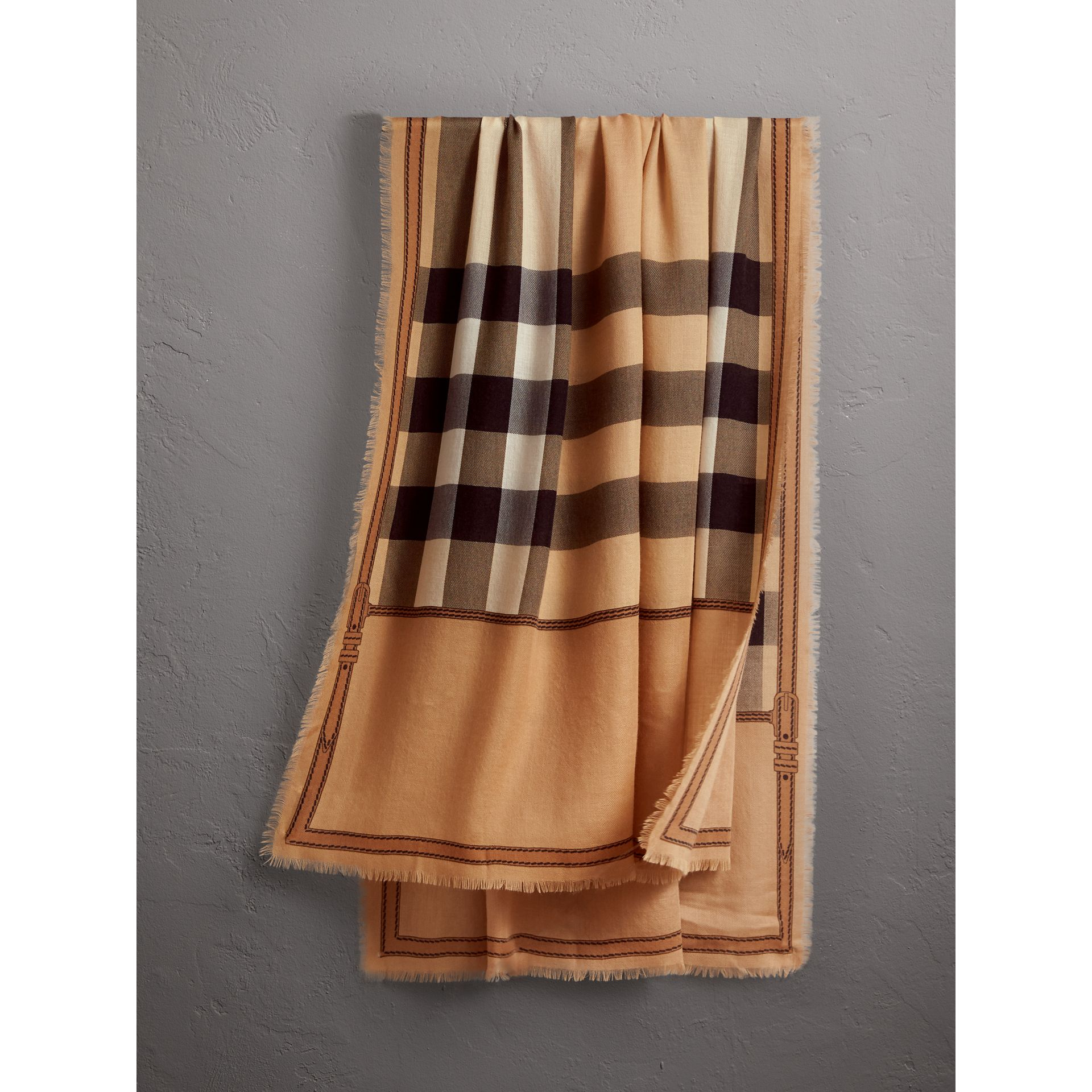 Contrast Border Horseferry Check Cashmere Scarf in Camel - Women | Burberry Canada - gallery image 1